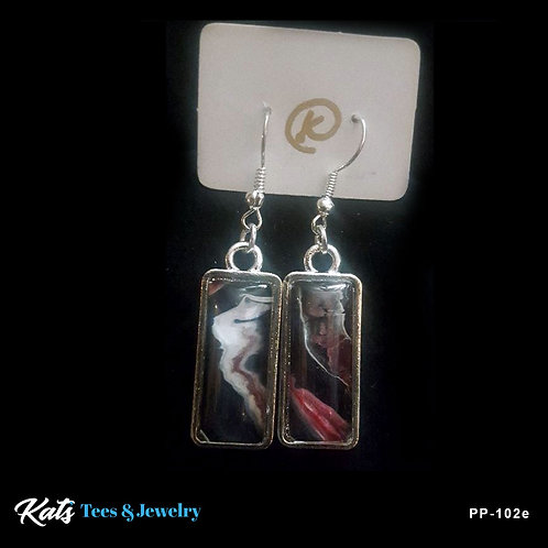 Poured Painting earrings - crimson white and black