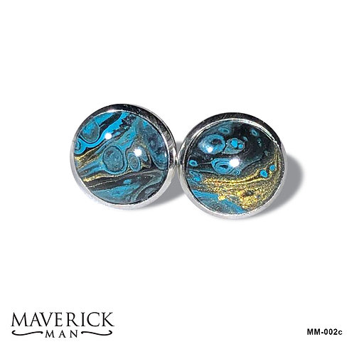 Hand painted stainless steel cufflinks in turquoise black and gold