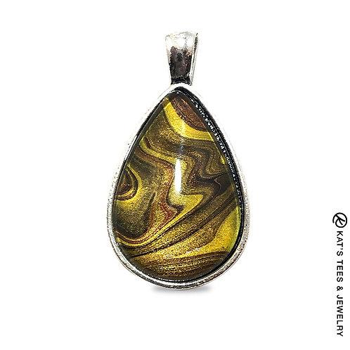 Gorgeous teardrop pendant with tiger eye art