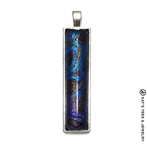 Sapphire blue and metallic purple poured acrylic pendant