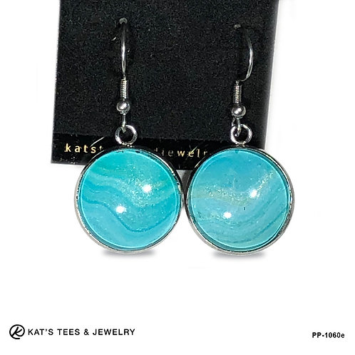 Shimmery turquoise earrings in stainless steel from poured acrylics