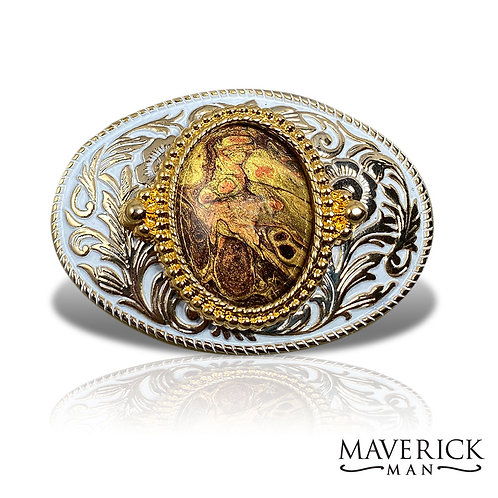 Gold and white belt buckle with unusual hand painted stone