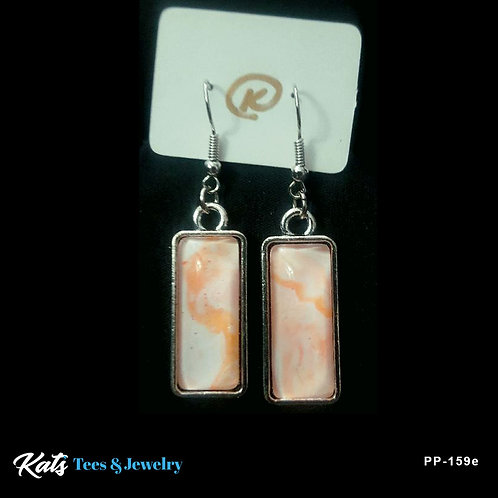 Poured Painting earrings - orange and white - wearable art!