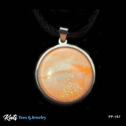 Stainless Steel Sm Circle pendant - orange and white - wearable art!