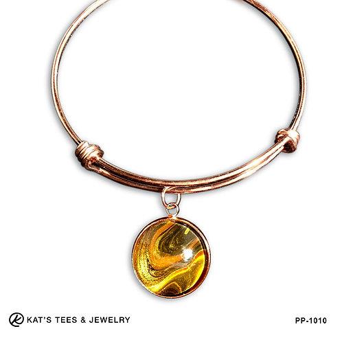 Rose gold tiger eye charm bracelet in stainless steel