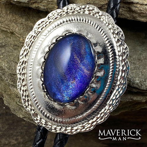 Handsome concho bolo with hand painted sapphire stone