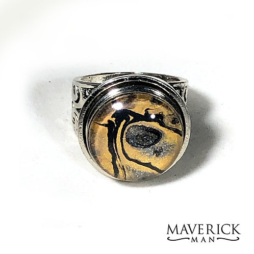 Hand painted Platinum plated stainless steel ring with interchangeable stone