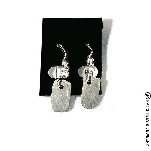 Small natural slate earrings on silver hooks