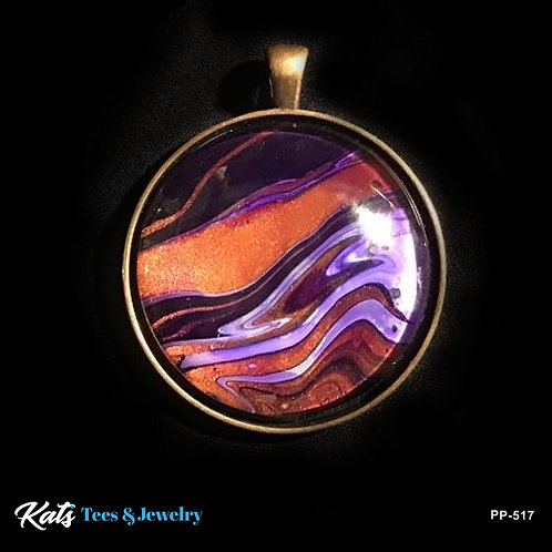 Large Poured Painting Pendant with Copper and purples