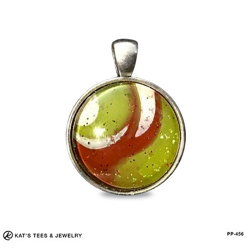 Unique Christmas pendant in green and red with sparkle