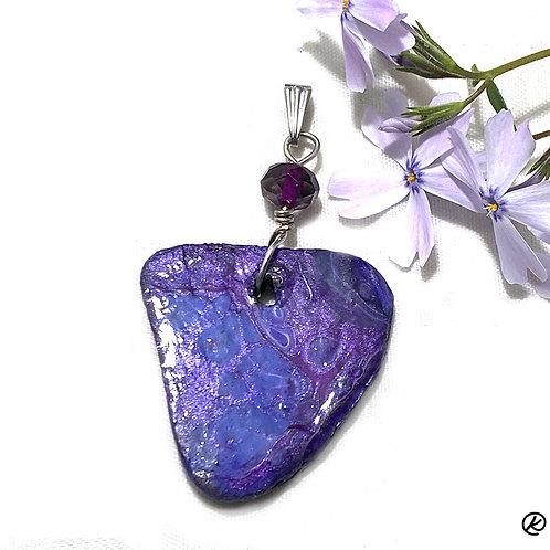 Shades of purple on a small slate pendant