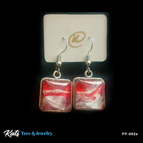 Poured Painting square drop earrings - crimson and white
