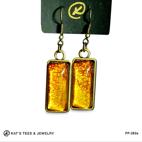 Artistic maroon and gold drop earrings