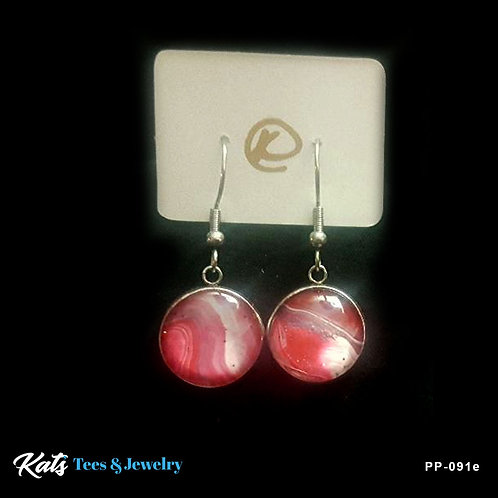 Poured Painting stainless steel earrings - crimson white and gray