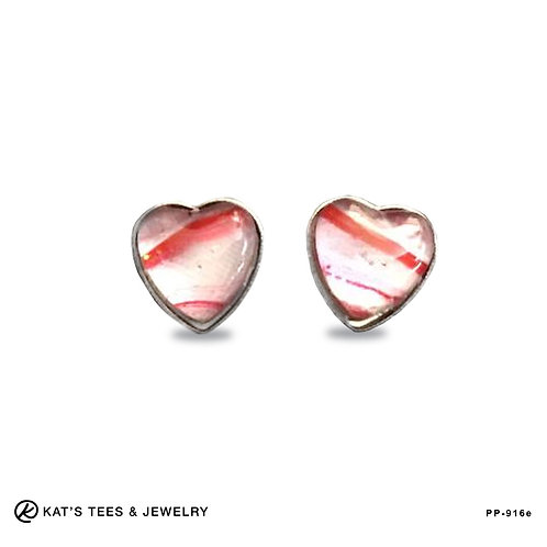 Stainless steel heart stud earrings in red silver and white