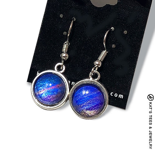 Sapphire blue poured acrylic earrings