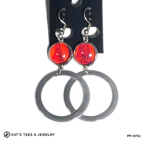 Dangly red earrings in stainless steel with purple