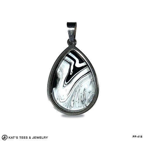 Artistic black and white pendant in stainless steel