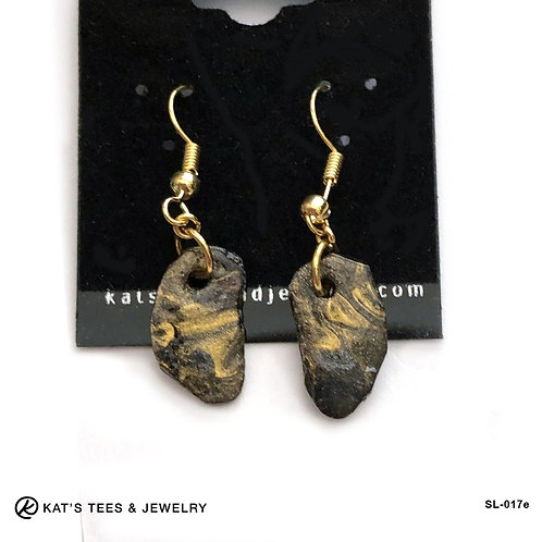 Small gold and black slate earrings from poured acrylics