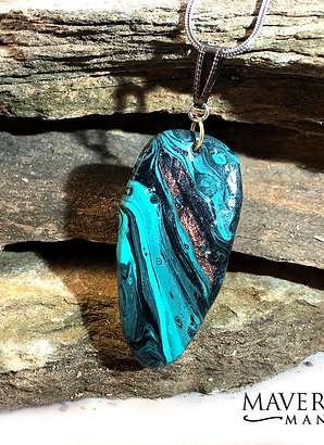 Handsome turquoise and black slate pendant with copper accents