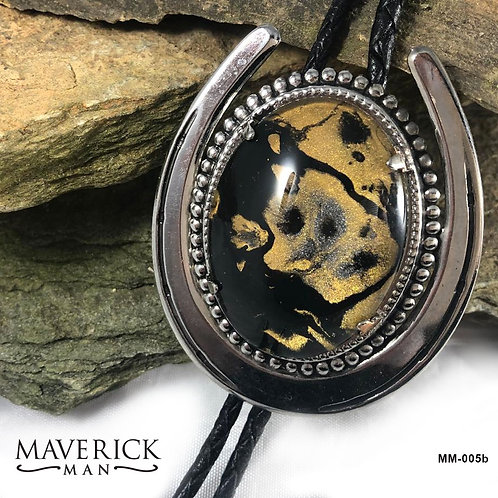 Large black and gold tiger look horseshoe bolo