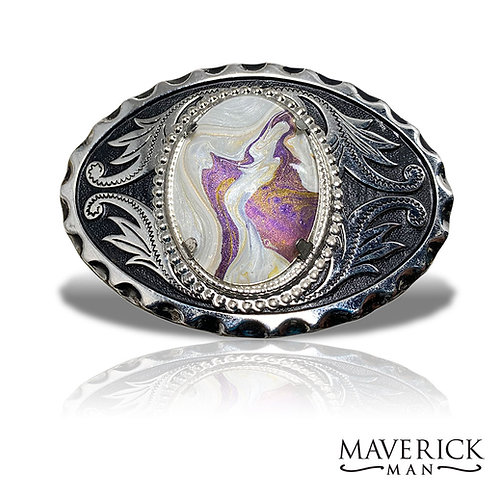 Classic filigree belt buckle with hand painted purple and pearl stone