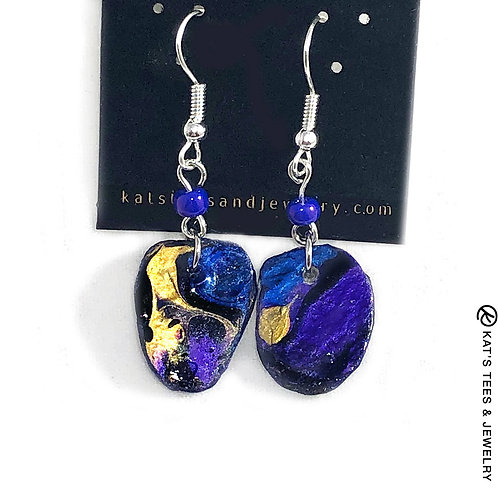 Small slate earrings in sapphire blue and metallic purple and gold