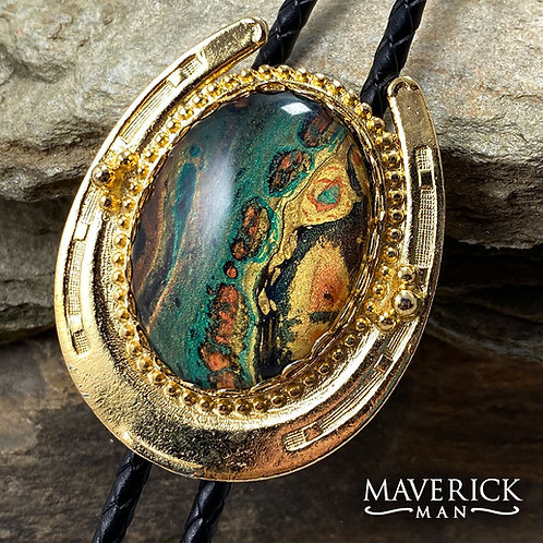 Gold horseshoe bolo with unusual hand painted stone