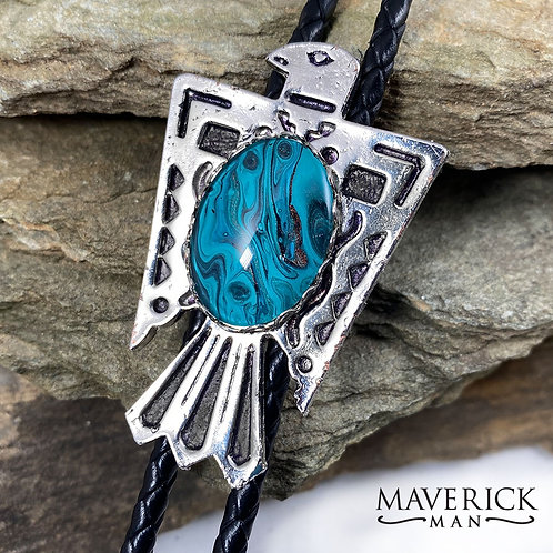 Thunderbird bolo with hand painted turquoise and black paint