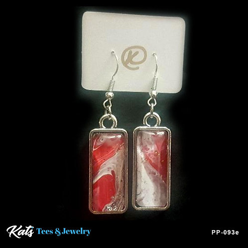 Poured Painting earrings - crimson and white