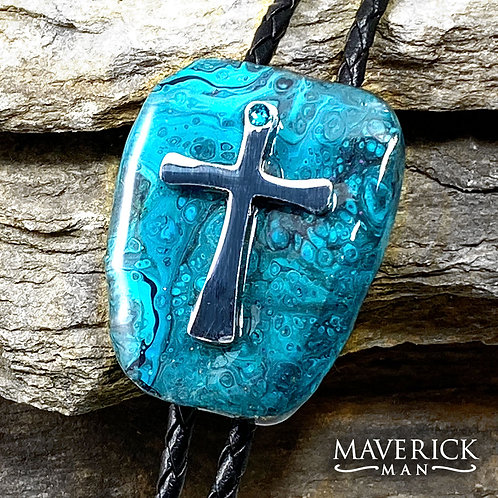Slate bolo in shades of turquoise with stainless steel cross