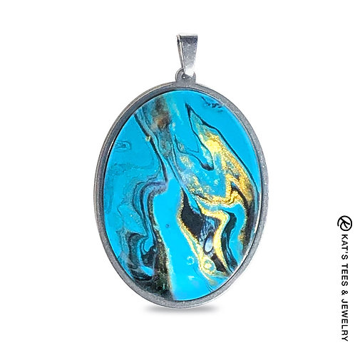 Large turquoise and black stainless steel pendant