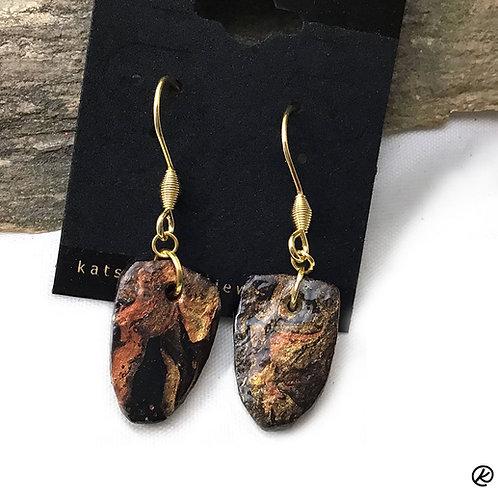 Small slate earrings in dark earthtones