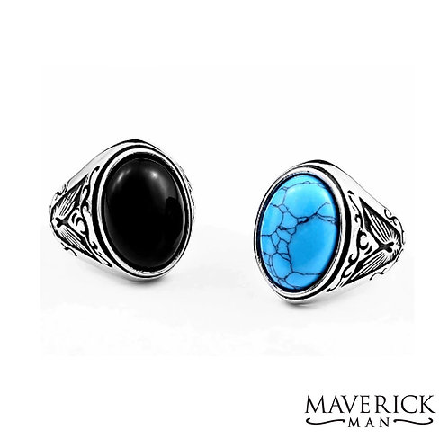 Stainless steel ring with black or turquoise faux stone
