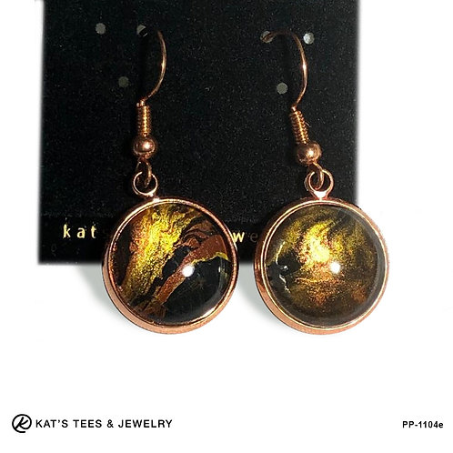 Eye-catching tiger eye earrings in rose gold stainless steel