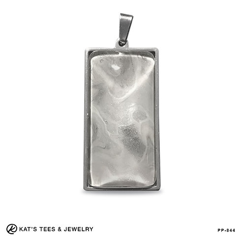 Medium stainless steel pendant in platinum and silver
