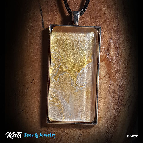 Poured Painting - 1x2 inch Pendant - Gold and Silver - wearable art