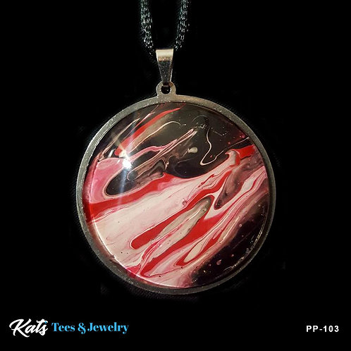 Poured Painting stainless steel pendant - crimson black and white