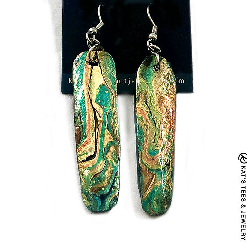 Stunning long slate earrings from our Emerald City collection