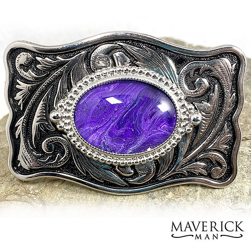 Large filigree belt buckle with hand painted stone in purple with glitter