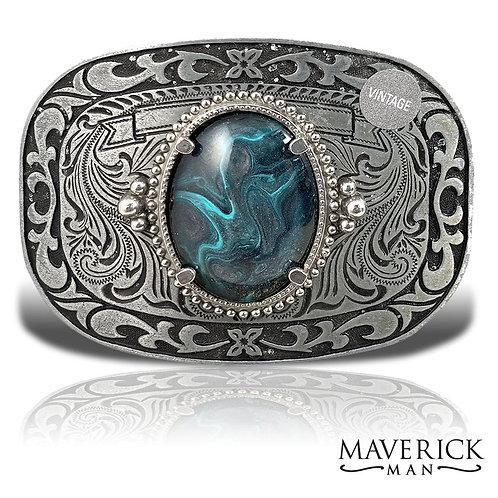Vintage gray belt buckle w hand painted stone in platinum n turqu