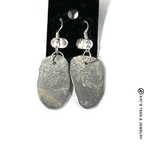 Beautiful natural slate earrings on silver hooks