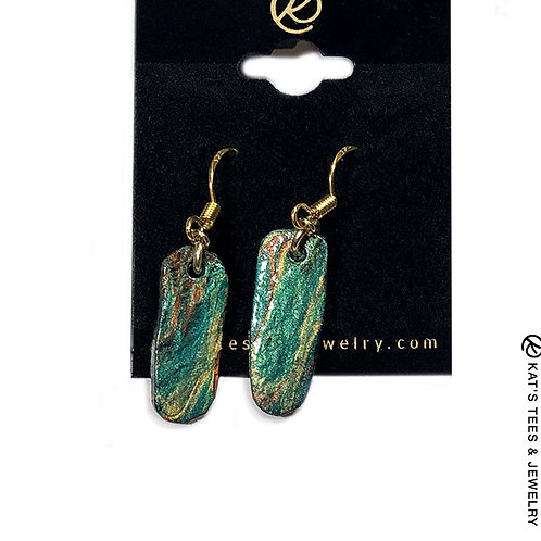 Small slate earrings in Emerald Green palette