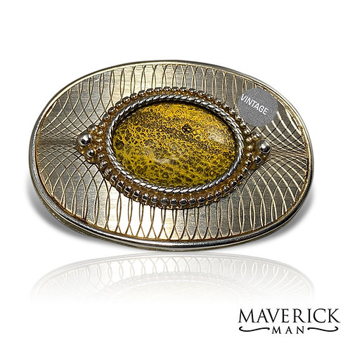 Vintage belt buckle with hand painted gold and black stone