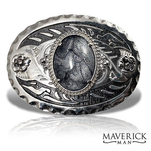 Large belt buckle with hand painted stone in platinum and black