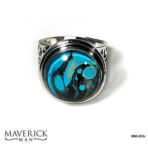 Mens turquoise and black stainless steel ring