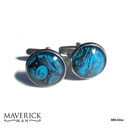 Turquoise and black stainless steel cufflinks