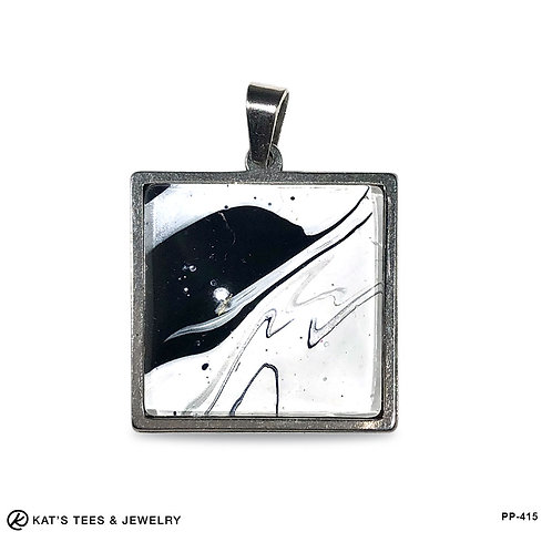 Artistic stainless steel pendant in black and white