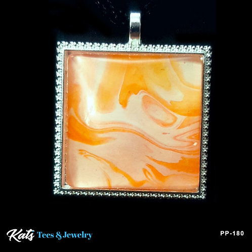 Poured Painting square pendant - orange and white - wearable art!