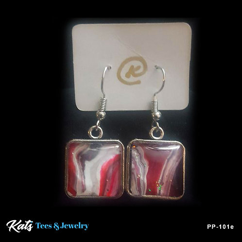 Poured Painting square drop earrings - crimson black and white